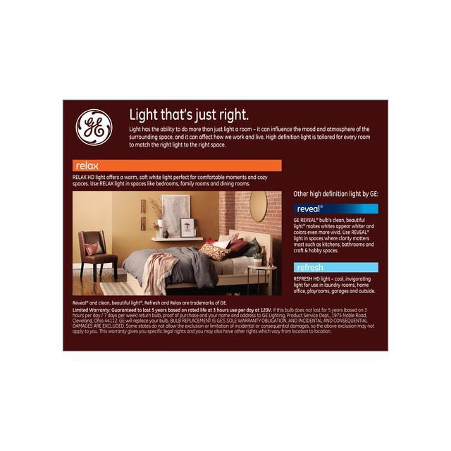 Paquet arrière de GE Relax HD Soft White 60W Ampoules LED de remplacement Décoratif Clear Globe Medium Base G25 (2-Pack)