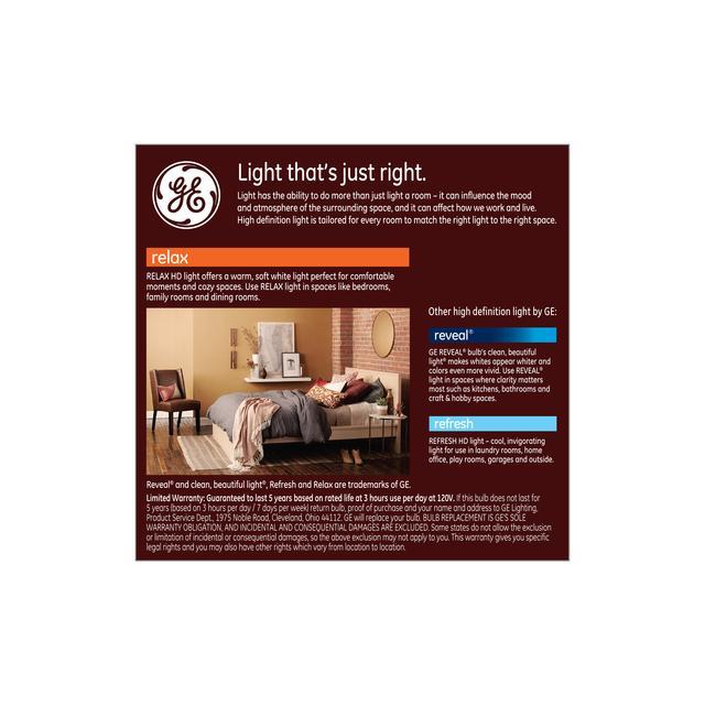 Paquet arrière de GE Relax HD Soft White 100W Remplacement LED Ampoules à usage général A19 Light (2-Pack)