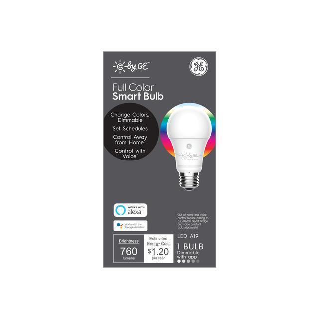 Ensemble avant de GE C by GE Smart EQ 60 watts A19 Ampoule LED intelligente dimmable couleur complet (l'emballage peut varier)