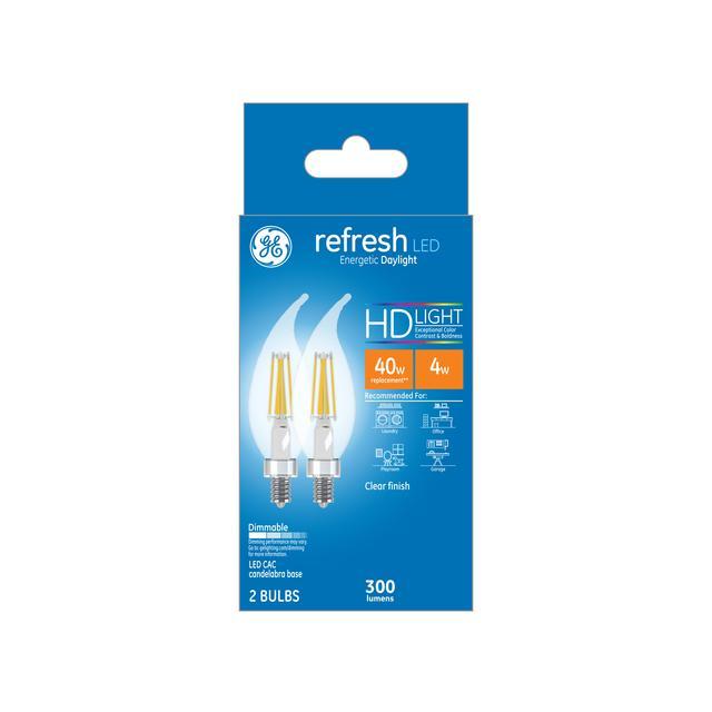 Paquet avant de GE Refresh HD Daylight 40W Remplacement ampoules LED Décoratif Clear Bent Tip Candélabre Base CAC (2-Pack)