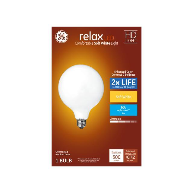 Paquet avant de GE Relax HD Soft White 60 W AMPOULES LED Décorative Globe Base Moyenne G40
