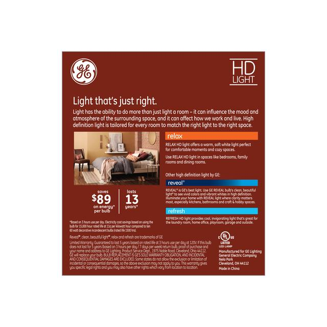 Back package of GE Relax HD Soft White 60W Replacement LED Light Bulbs Decorative White Bent Tip Candelabra Base CAC