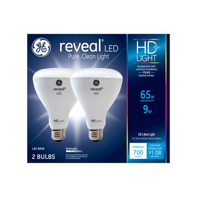 Paquet avant de GE Reveal HD+ Color-Enhancing 65W Remplacement ampoules LED projecteur intérieur BR30 (2-Pack)