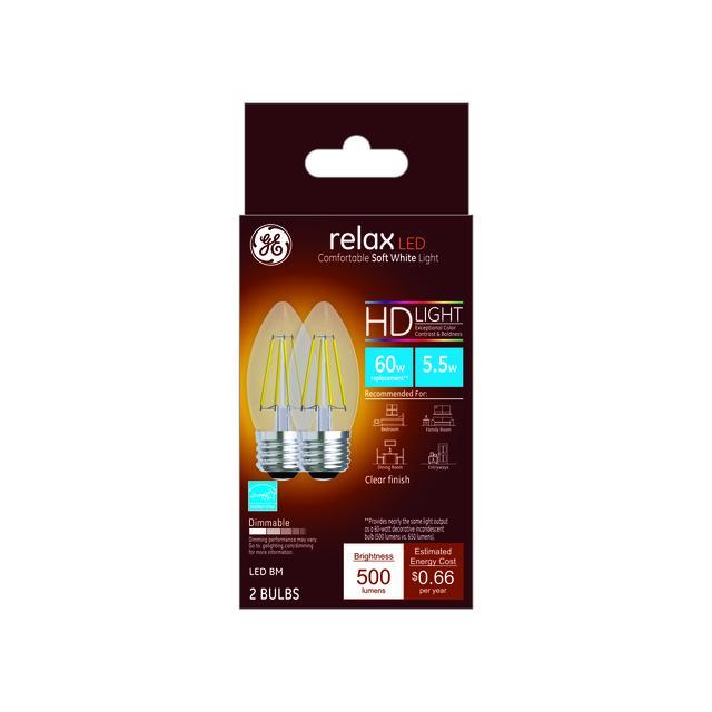 Paquet avant de GE Relax HD Soft White 60W Remplacement ampoules LED Décoratif Clear Blunt Tip Base moyenne BM (2-Pack)