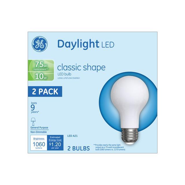 Emballage avant d'ampoules LED de remplacement GE Daylight 75 W Usage général A21