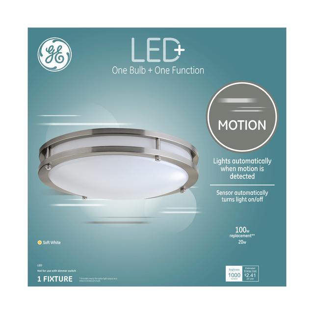 Ensemble avant de GE LED + Motion Soft White 100 W Remplacement led intégré fixation de plafond (1-Pack)