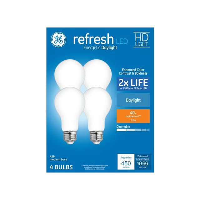 Ensemble avant de Refresh HD Daylight 40 W Remplacement LED Indoor General Purpose A19 Light Bulbs (4-Pack)
