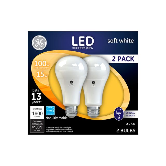 Front package of GE Soft White 100W Replacement LED Light Bulbs General Purpose A21  (2-Pack)