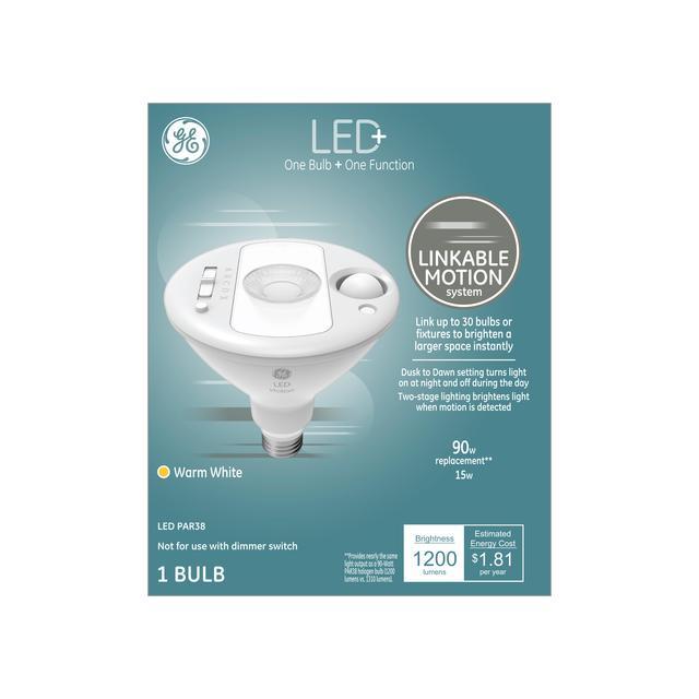 Paquet avant de GE LED + Linkable Motion Warm White 90 W Remplacement LED Outdoor Floodlight PAR38 Ampoule de lumière (1-Pack)