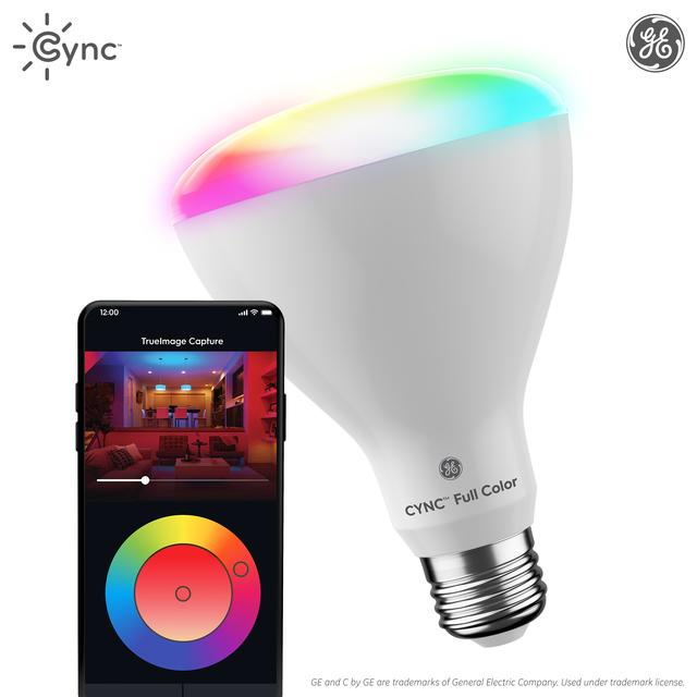 Ensemble avant de GE C by GE 65 watts EQ LED Br30 Ampoule intelligente à spectre complet (l'emballage peut varier)