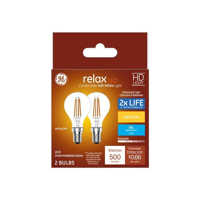 Paquet avant de Relax HD Soft White 60 W Remplacement ampoules LED Ampoules Clear Ceiling Fan Base intermédiaire A15