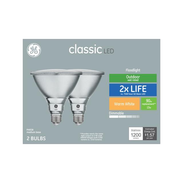 Paquet avant de GE Classic Warm White 90 W Remplacement LED Ampoule extérieure Floodlight PAR38 (2-Pack)