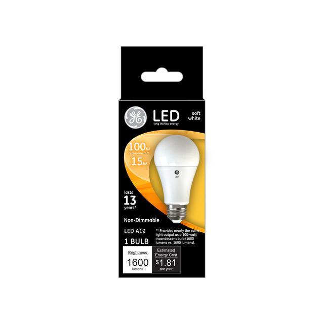 Ensemble avant de GE Soft White 100 W Remplacement LED à usage général à usage général non dimmable A19 Ampoule lumineuse
