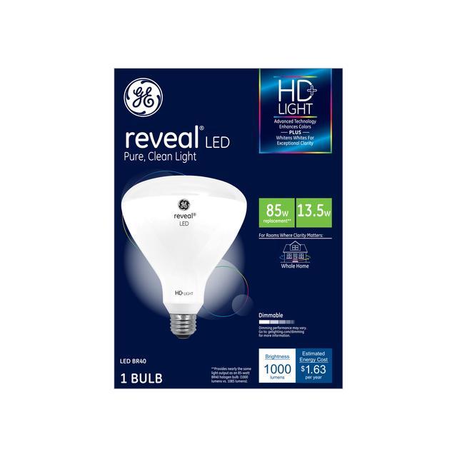 Paquet avant de GE Reveal HD+ Color-Enhancing 80W Remplacement ampoule LED Projecteur intérieur BR40 (1-Pack)