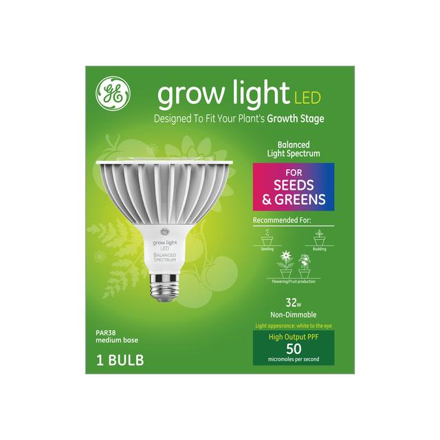 Ensemble avant de GE Grow Light LED 32 W Balanced Light Spectrum PAR38 Light Bulb (1-Pack)
