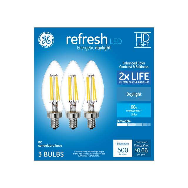 Ensemble avant de GE Refresh HD Daylight 60 W Remplacement LED Clear Decorative Blunt Tip Candelabra Base BC Light Bulbs (3-Pack)