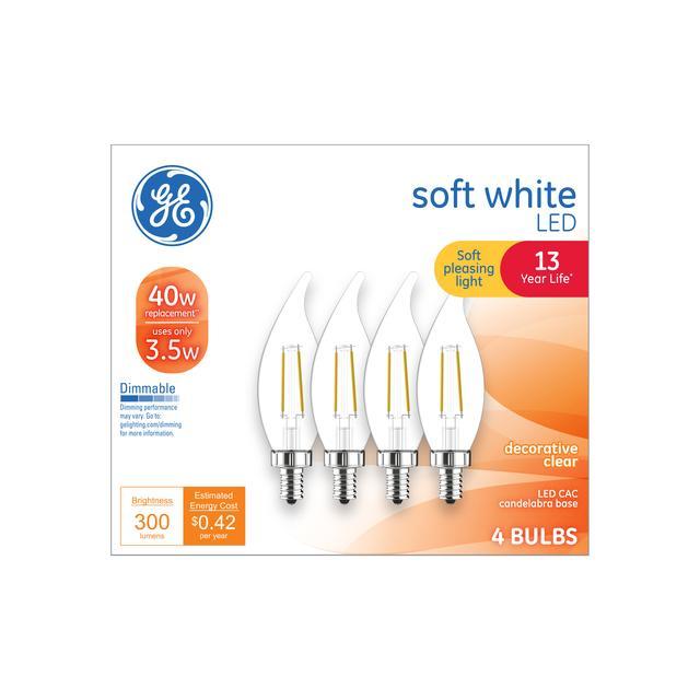 Ensemble avant de soft white 40 W Remplacement LED Décoratif Clair Bent Tip Candelabra Base CAC Light Bulbs