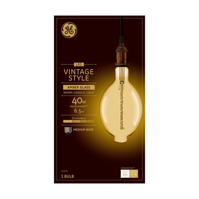 Emballage avant de GE Vintage Warm Candlelight 40 W Remplacement LED Amber Finish Spiral Filament Décoratif Base Moyenne Décorative BT56 Ampoule de lumière (1-Pack)