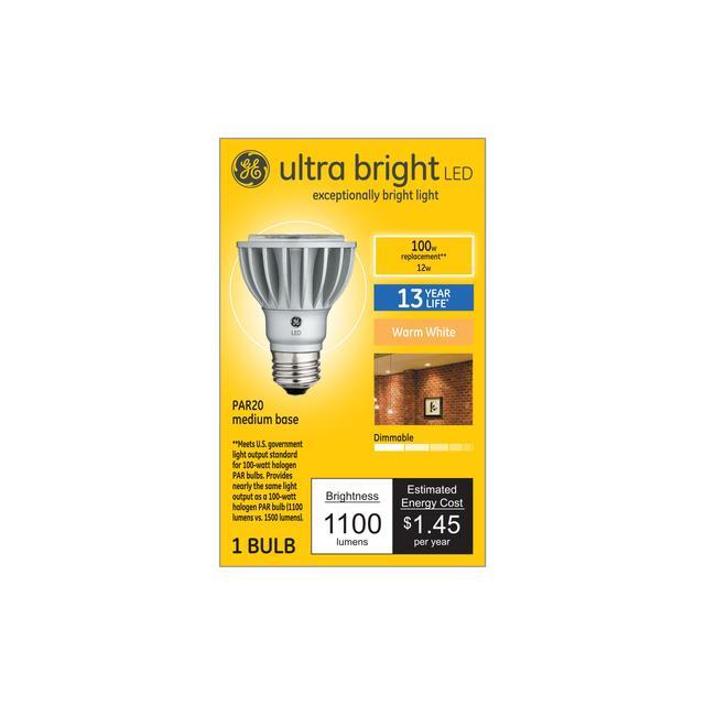 Emballage avant de GE Ultra Bright Warm White 100 W Replacement Indoor Floodlight PAR20 Light Bulb (1-Pack)