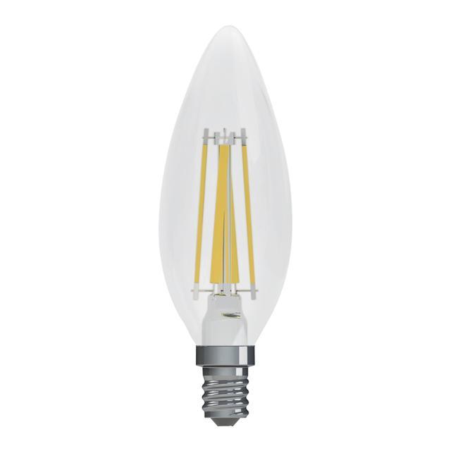 Image du produit de GE Relax HD Soft White 60W Ampoules LED de remplacement Décoratif Clear Blunt Tip Base de candélabre BC (2-Pack)