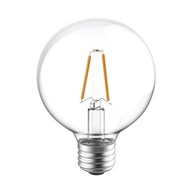 Image produit des ampoules LED de remplacement 40W de GE Reveal HD+ Améliorant la couleur, 2-Pack, clair, décoratif, globe, ampoules LED dimmables, base moyenne, G25