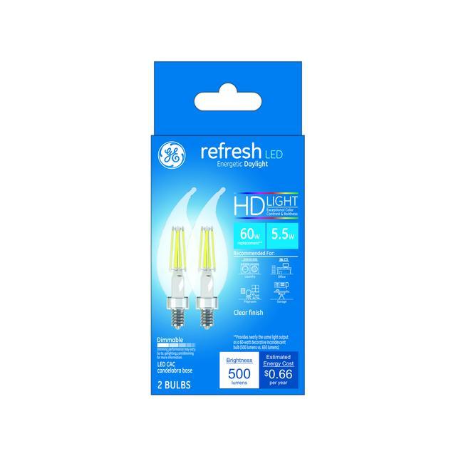 Paquet avant de GE Refresh HD Daylight 60W Remplacement ampoules LED Décoratif Clear Bent Tip Candélabre Base CAC (2-Pack)