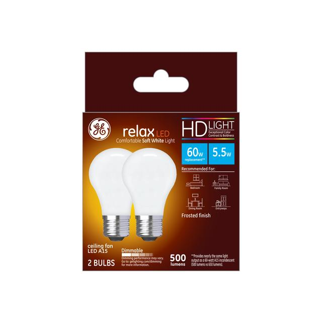 Ensemble avant de GE Relax HD Soft White 60W Ampoules LED de remplacement Ventilateur de plafond Base moyenne Blanc A15 (2-Pack)