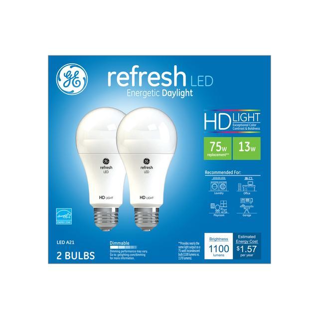 Paquet avant de GE Refresh HD Daylight 75W Ampoules LED de remplacement à usage général A21
