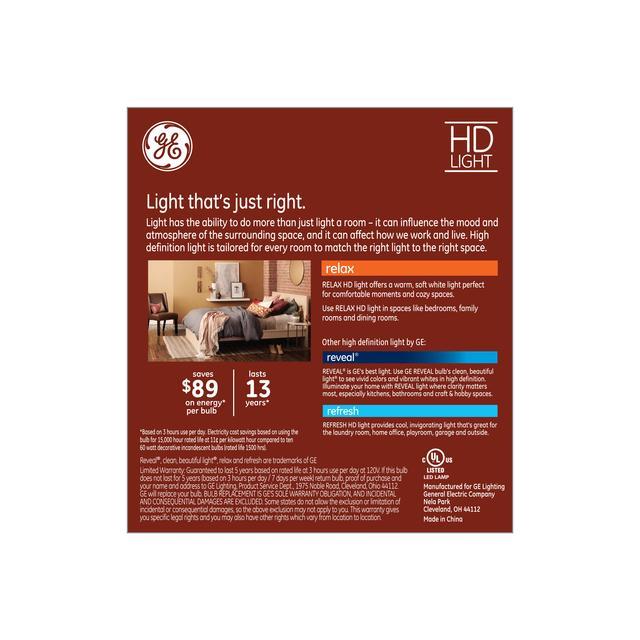 Paquet de dos de GE Relax HD Soft White 60W Remplacement LED Clear Decorative Blunt Tip Candelabra Base BC Ampoules de lumière (3-Pack)