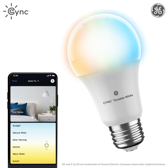 Ensemble avant de GE EQ C by GE 60 watts A19 Une ampoule LED intelligente dimmable blanche réglable (l'emballage peut varier)